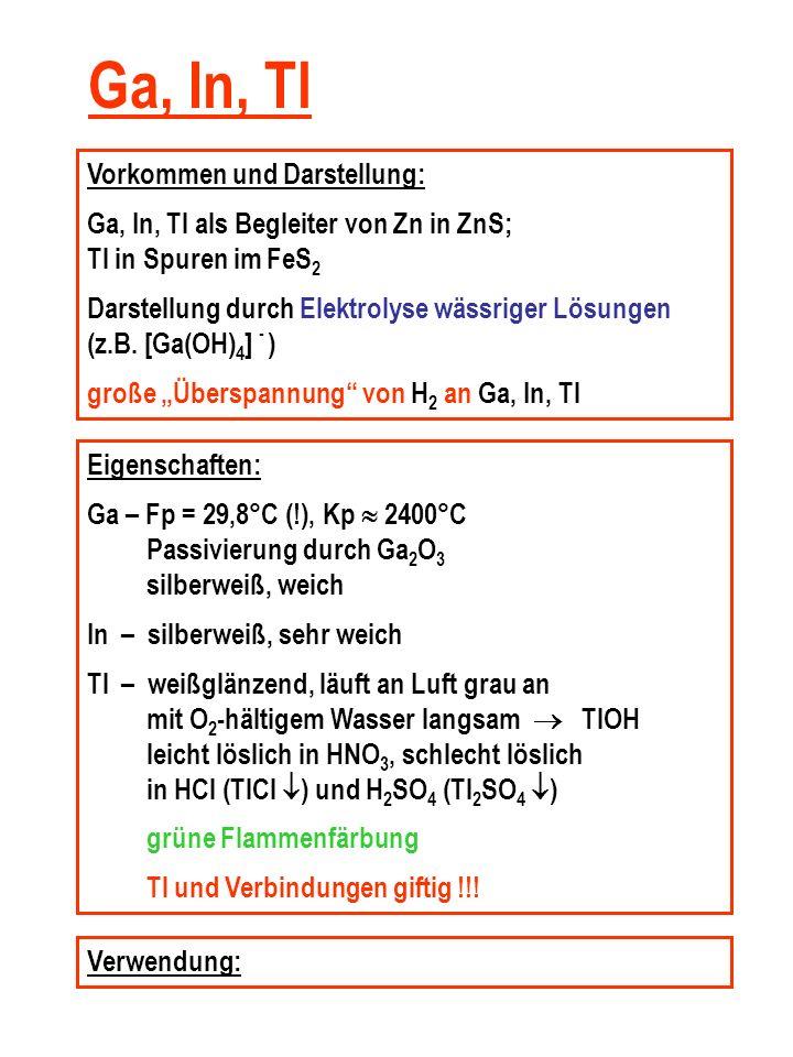 Ga, In, Tl Vorkommen und Darstellung: