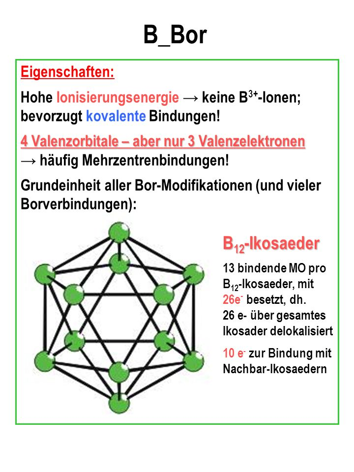 B_Bor B12-Ikosaeder Eigenschaften: