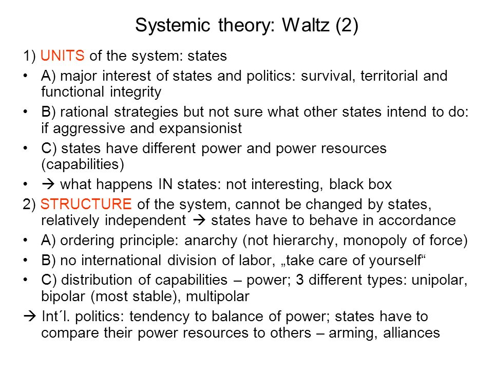 Systemic theory: Waltz (2)