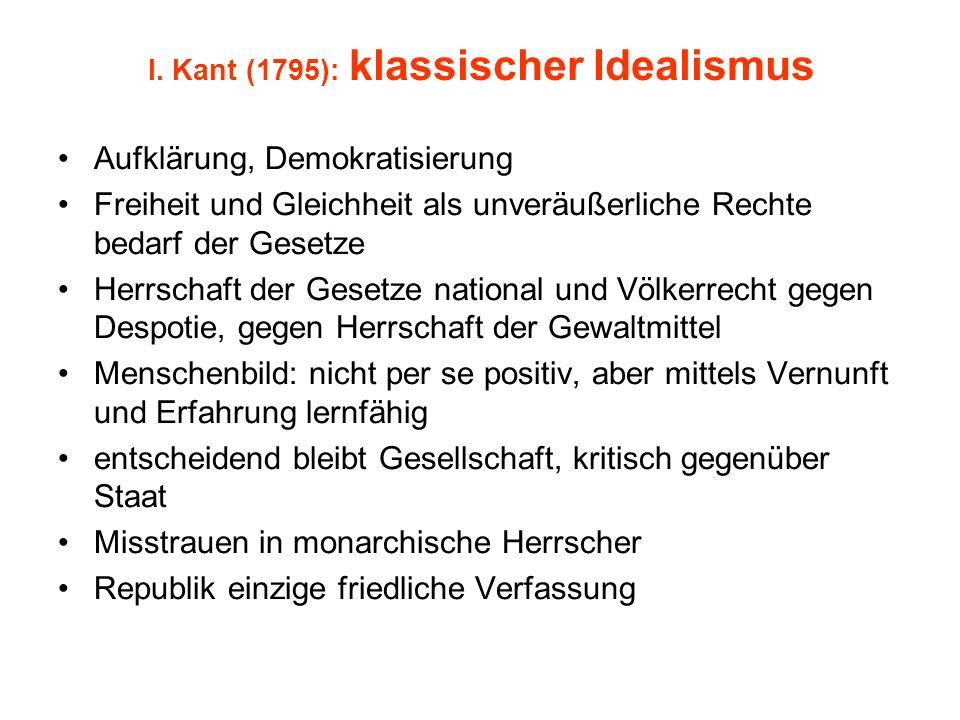 I. Kant (1795): klassischer Idealismus