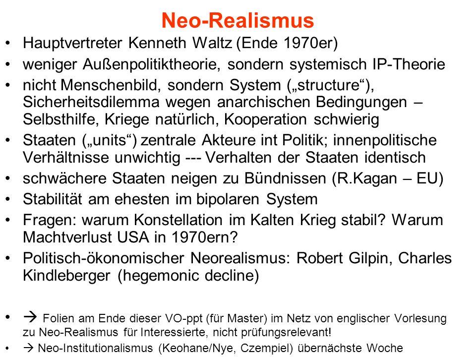 Neo-Realismus Hauptvertreter Kenneth Waltz (Ende 1970er)