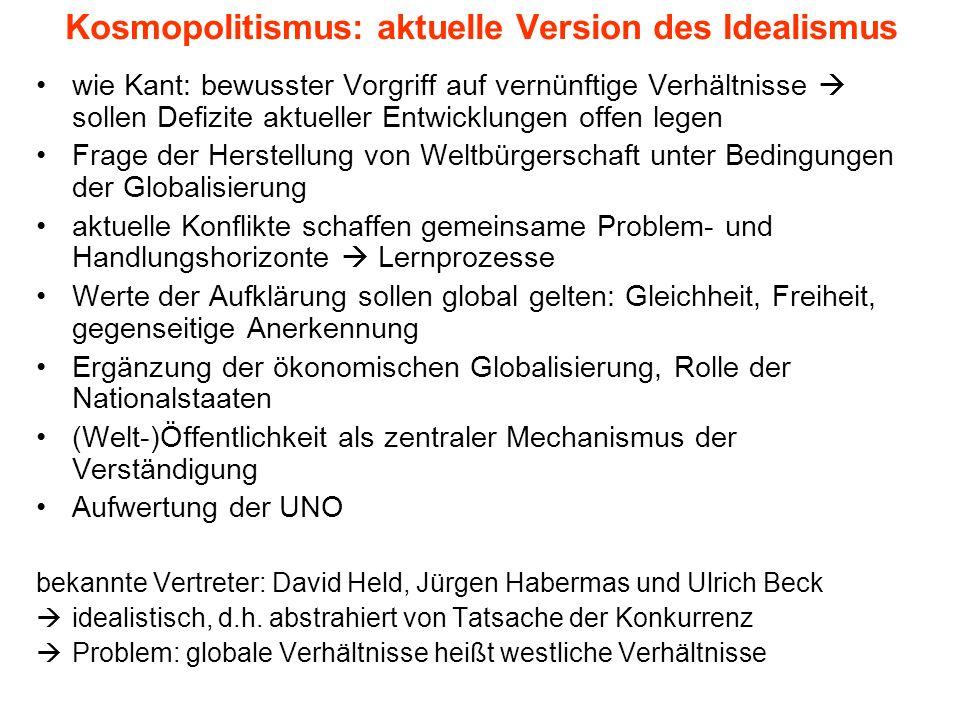 Kosmopolitismus: aktuelle Version des Idealismus