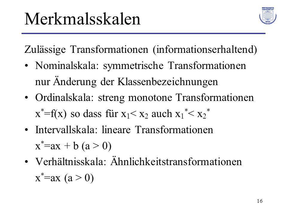 Merkmalsskalen Zulässige Transformationen (informationserhaltend)