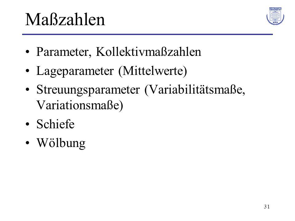 Maßzahlen Parameter, Kollektivmaßzahlen Lageparameter (Mittelwerte)