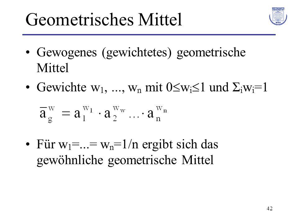 Geometrisches Mittel Gewogenes (gewichtetes) geometrische Mittel