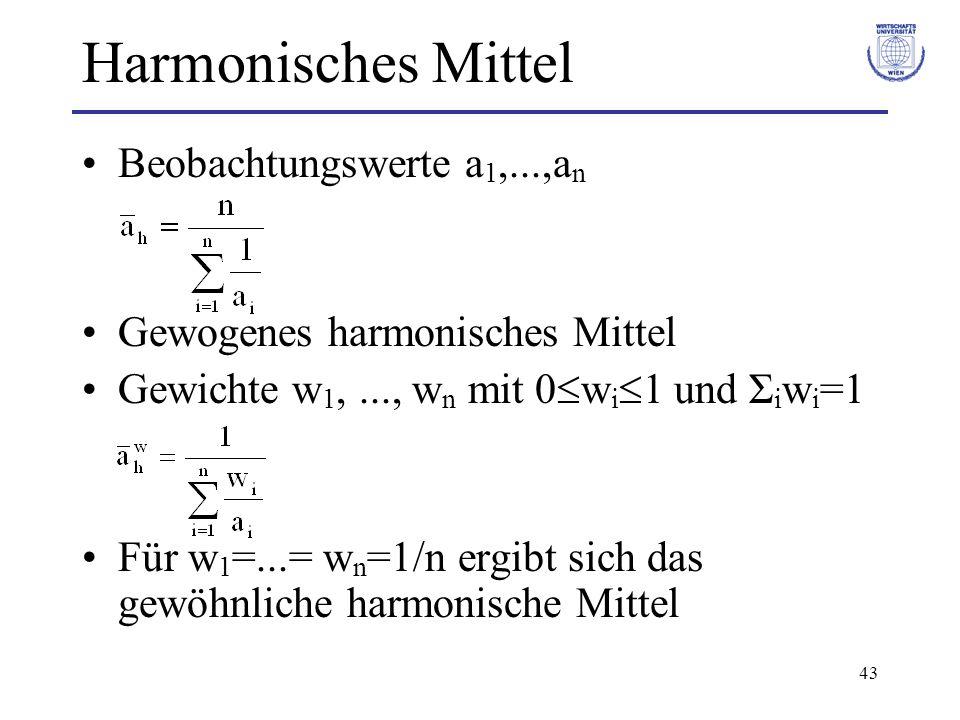 Harmonisches Mittel Beobachtungswerte a1,...,an