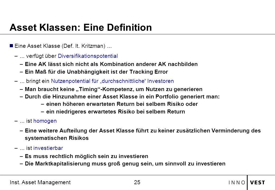 Asset Klassen: Eine Definition