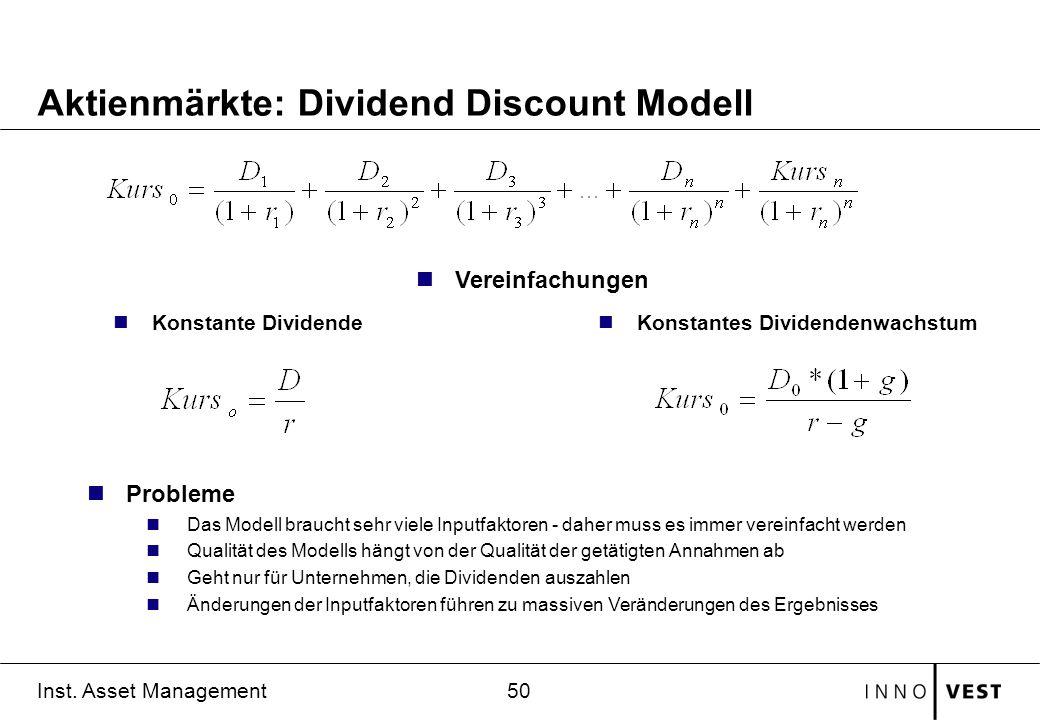 Aktienmärkte: Dividend Discount Modell