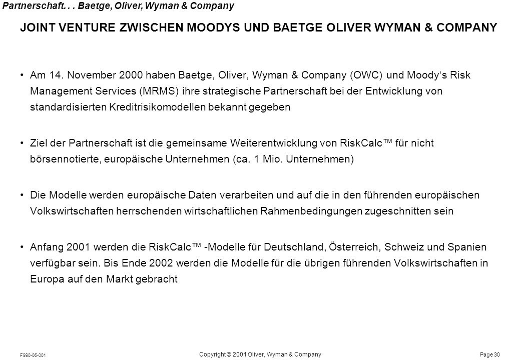 VORSTELLUNG MOODY'S RISK MANAGEMENT SERVICES