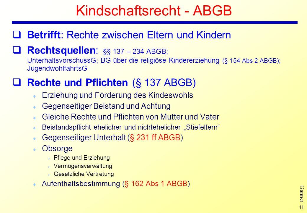 Kindschaftsrecht - ABGB