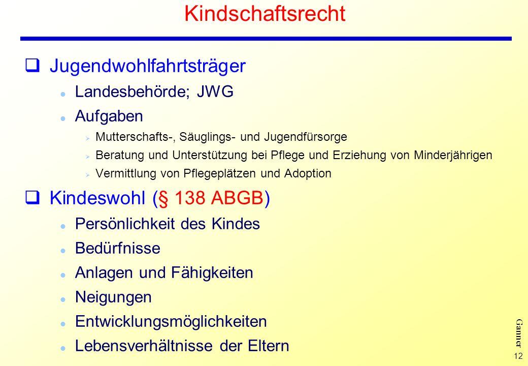 Kindschaftsrecht Jugendwohlfahrtsträger Kindeswohl (§ 138 ABGB)