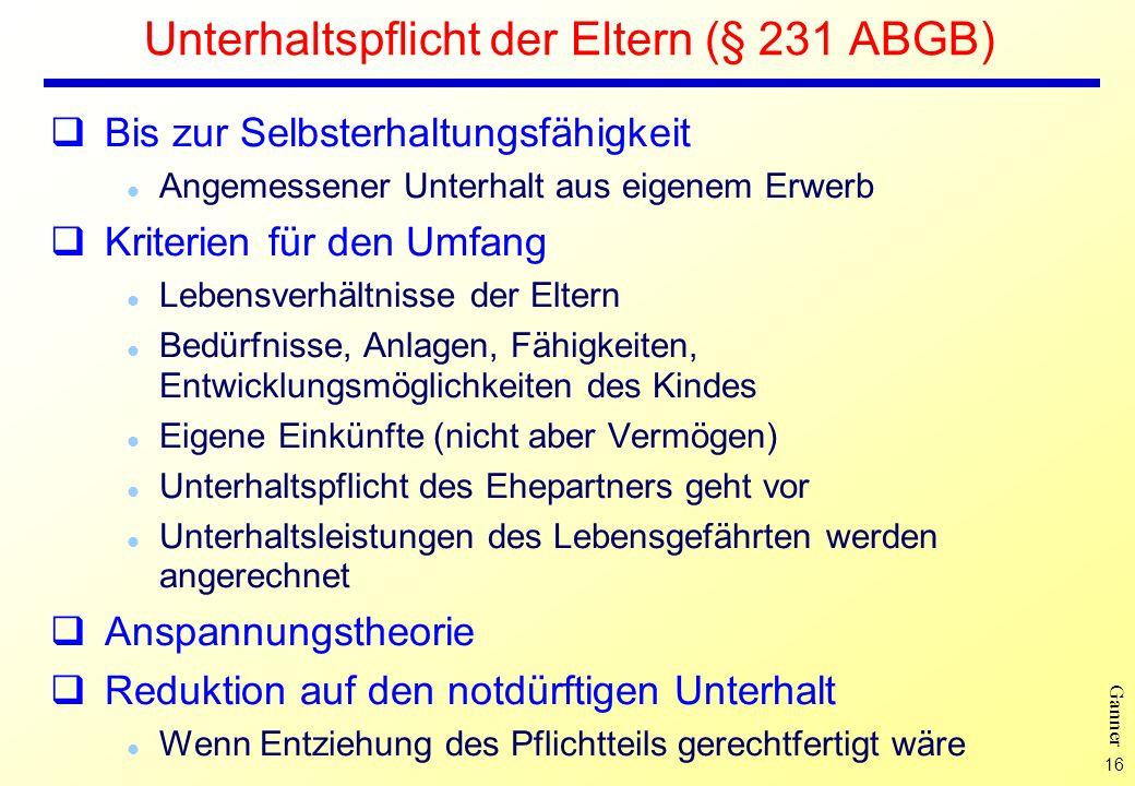 Unterhaltspflicht der Eltern (§ 231 ABGB)