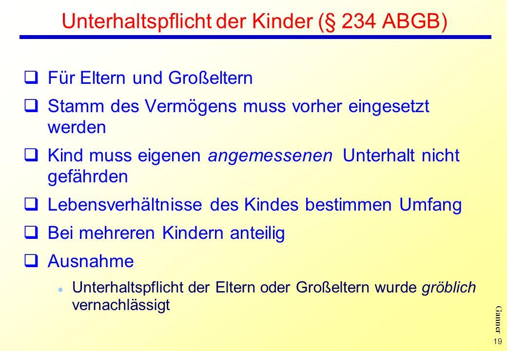 Unterhaltspflicht der Kinder (§ 234 ABGB)