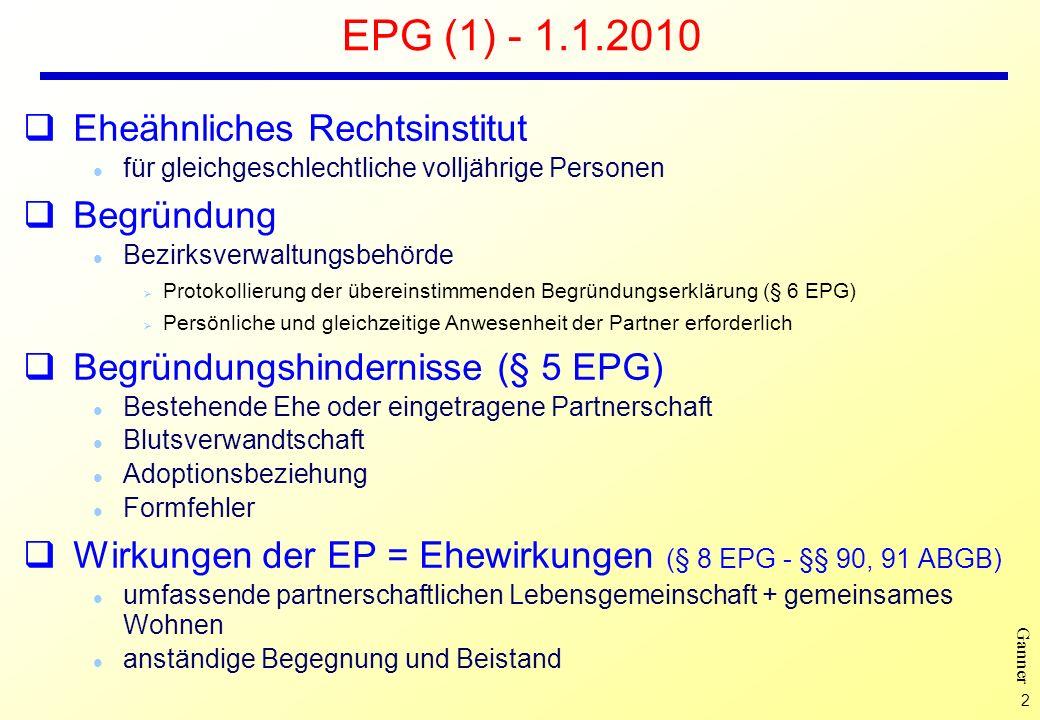 EPG (1) - 1.1.2010 Eheähnliches Rechtsinstitut Begründung