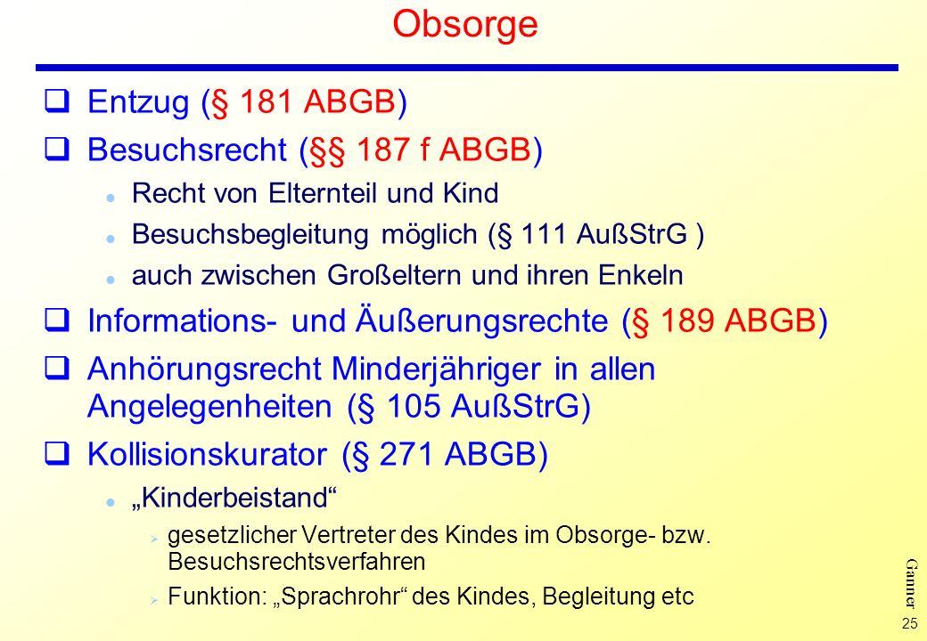Obsorge Entzug (§ 181 ABGB) Besuchsrecht (§§ 187 f ABGB)