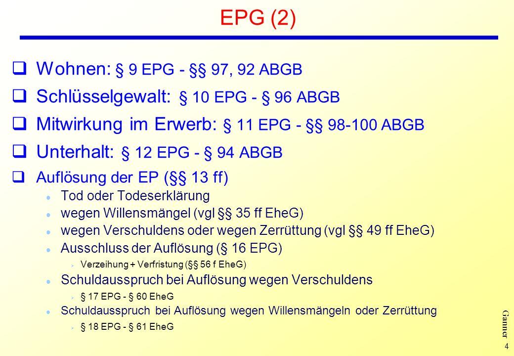 EPG (2) Wohnen: § 9 EPG - §§ 97, 92 ABGB