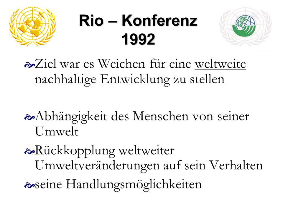 Rio – Konferenz 1992 Ziel war es Weichen für eine weltweite nachhaltige Entwicklung zu stellen. Abhängigkeit des Menschen von seiner Umwelt.