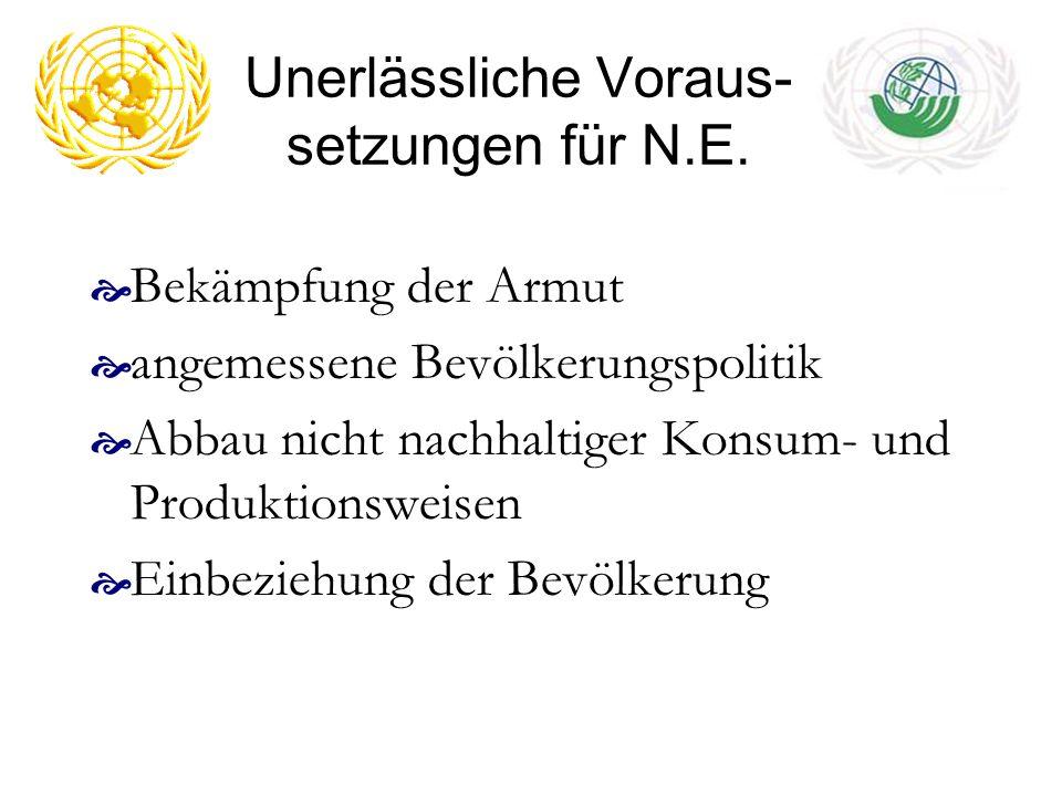 Unerlässliche Voraus-setzungen für N.E.