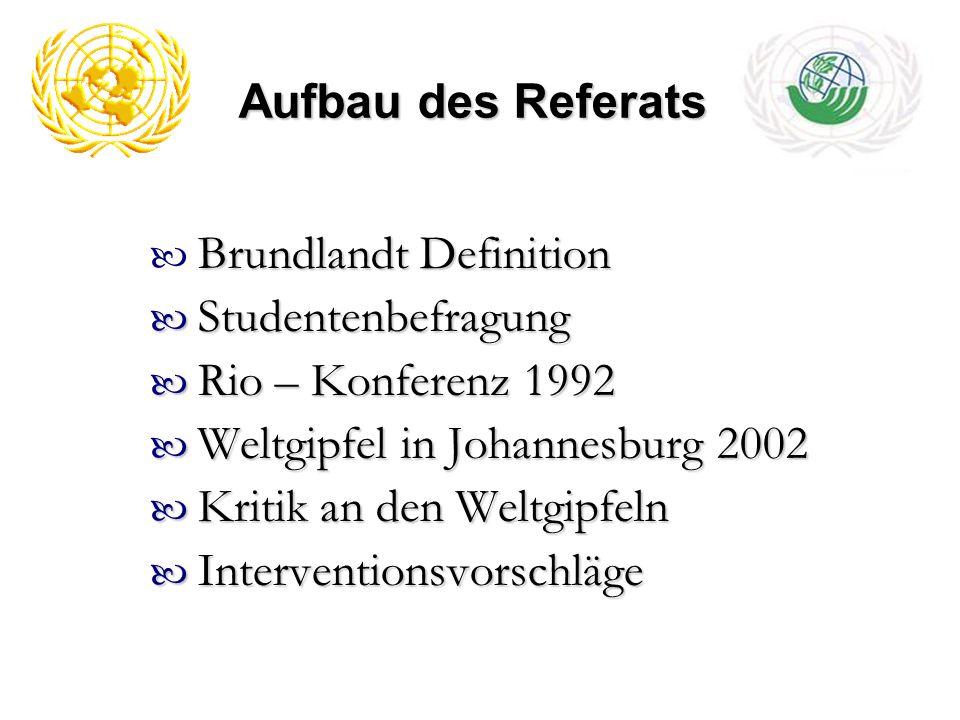 Aufbau des Referats Brundlandt Definition. Studentenbefragung. Rio – Konferenz 1992. Weltgipfel in Johannesburg 2002.