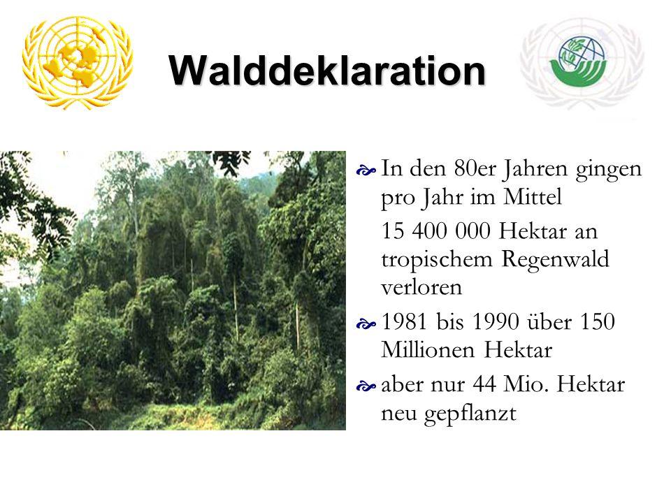 Walddeklaration In den 80er Jahren gingen pro Jahr im Mittel