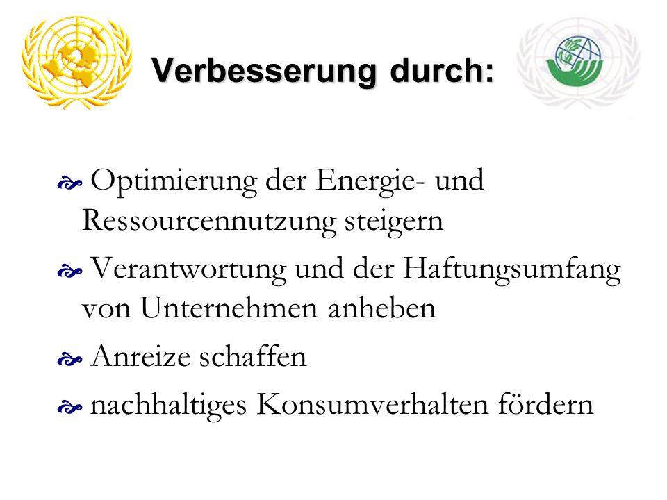 Verbesserung durch: Optimierung der Energie- und Ressourcennutzung steigern. Verantwortung und der Haftungsumfang von Unternehmen anheben.