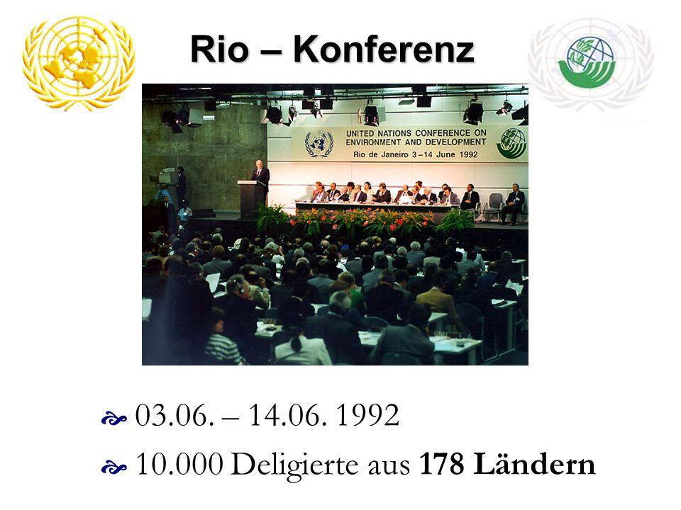 Rio – Konferenz 03.06. – 14.06. 1992 10.000 Deligierte aus 178 Ländern