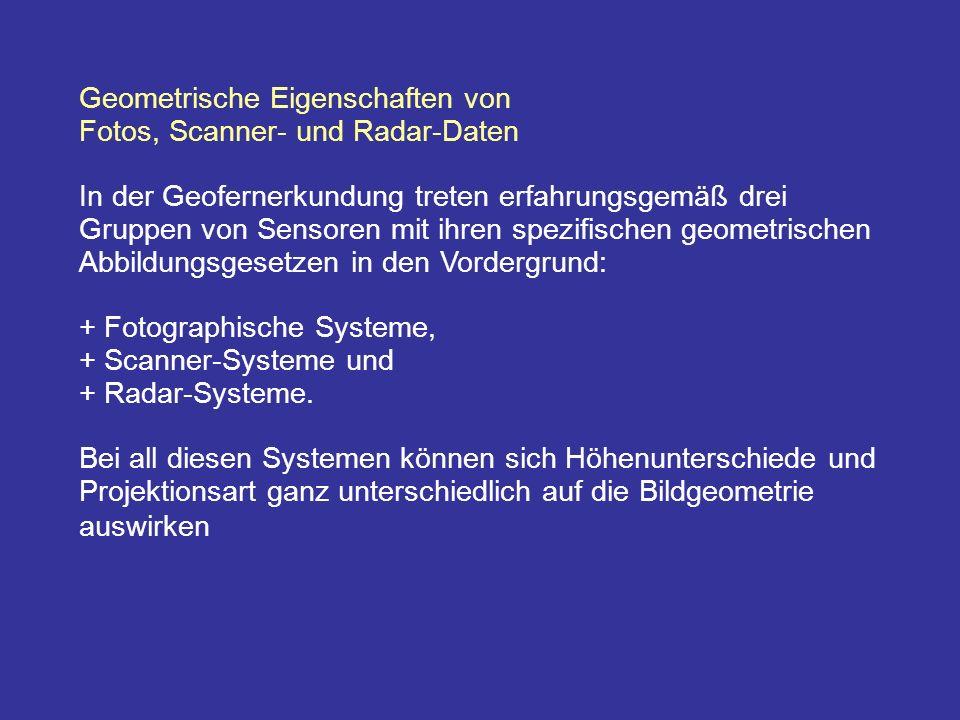 Geometrische Eigenschaften von Fotos, Scanner- und Radar-Daten