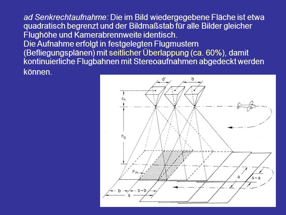 ad Senkrechtaufnahme: Die im Bild wiedergegebene Fläche ist etwa quadratisch begrenzt und der Bildmaßstab für alle Bilder gleicher Flughöhe und Kamerabrennweite identisch.