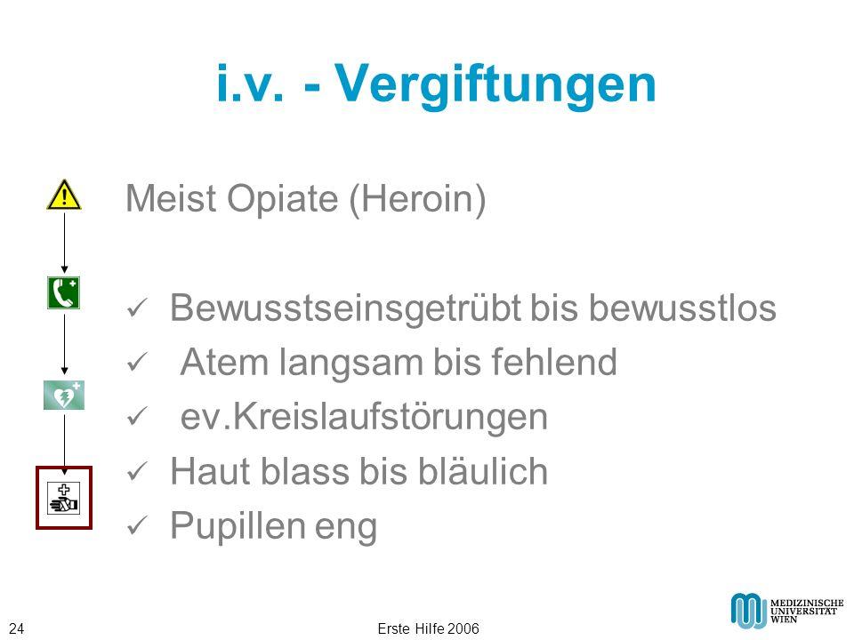 i.v. - Vergiftungen Meist Opiate (Heroin)