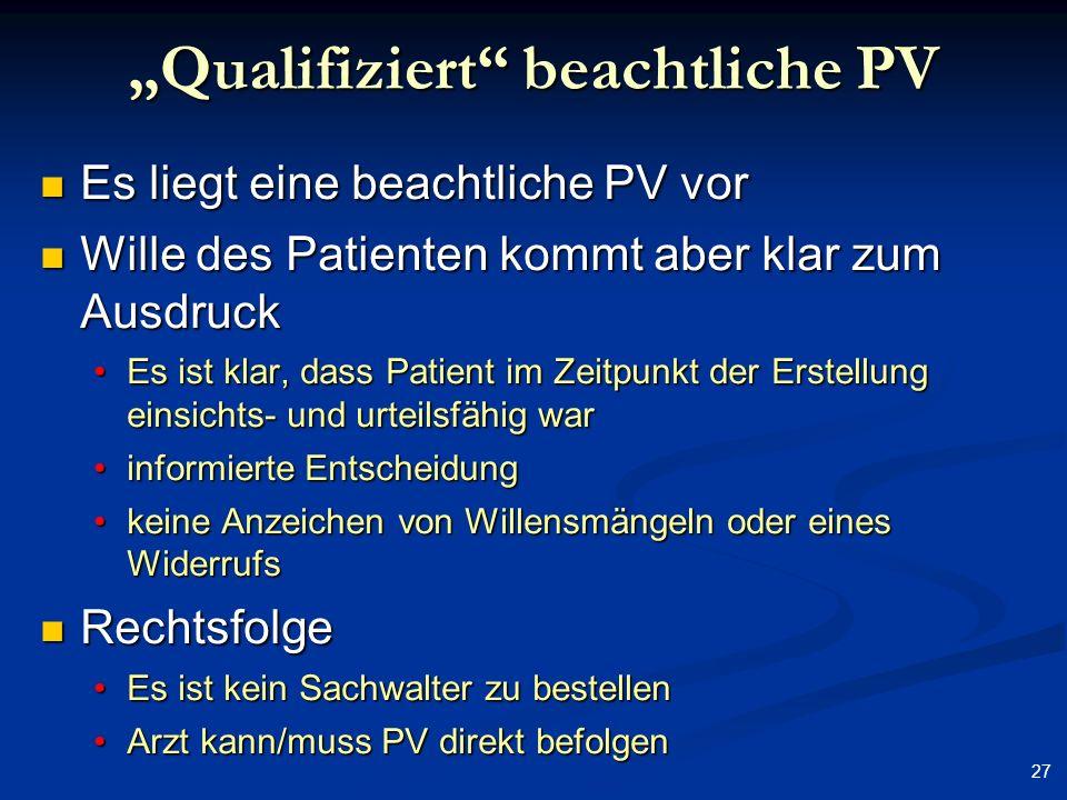 """""""Qualifiziert beachtliche PV"""