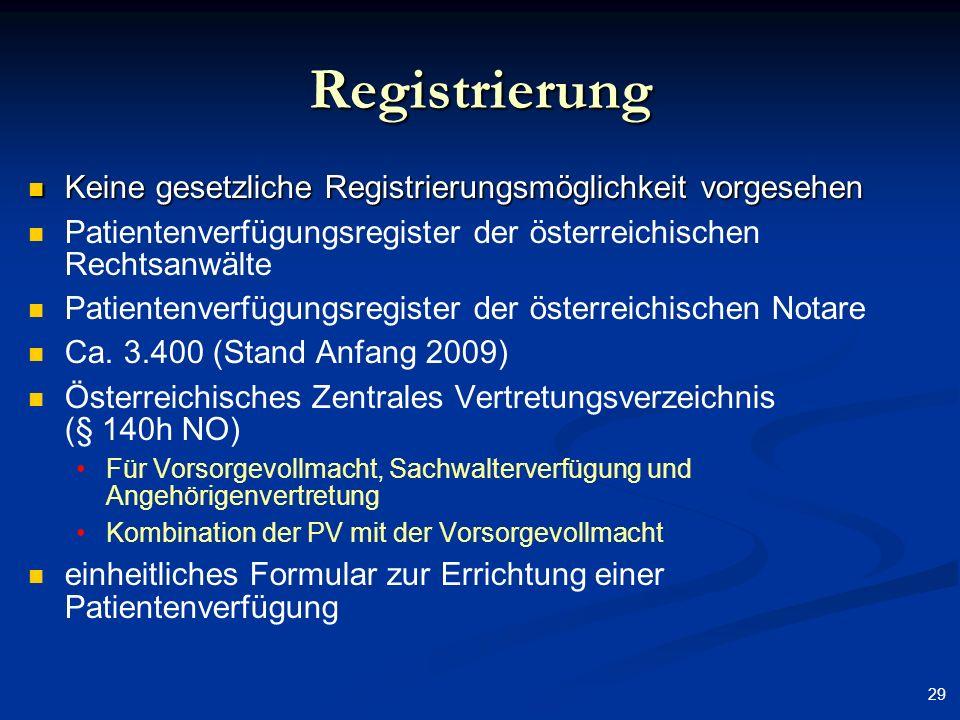 Registrierung Keine gesetzliche Registrierungsmöglichkeit vorgesehen