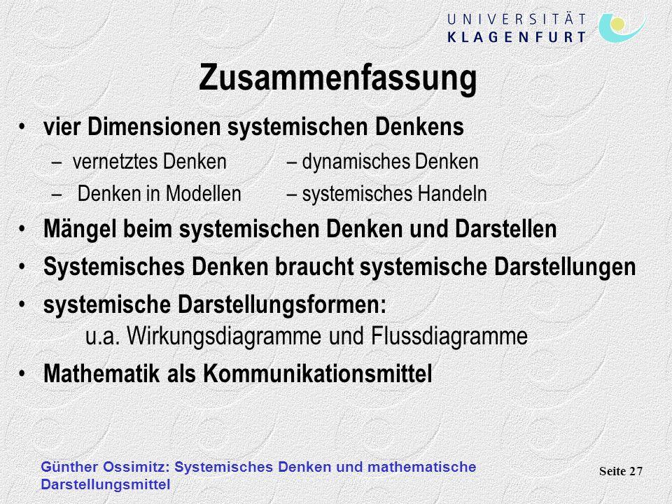 Zusammenfassung vier Dimensionen systemischen Denkens