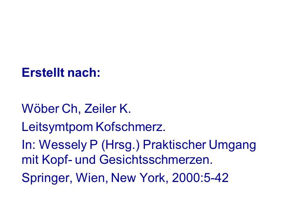 Erstellt nach: Wöber Ch, Zeiler K. Leitsymtpom Kofschmerz. In: Wessely P (Hrsg.) Praktischer Umgang mit Kopf- und Gesichtsschmerzen.