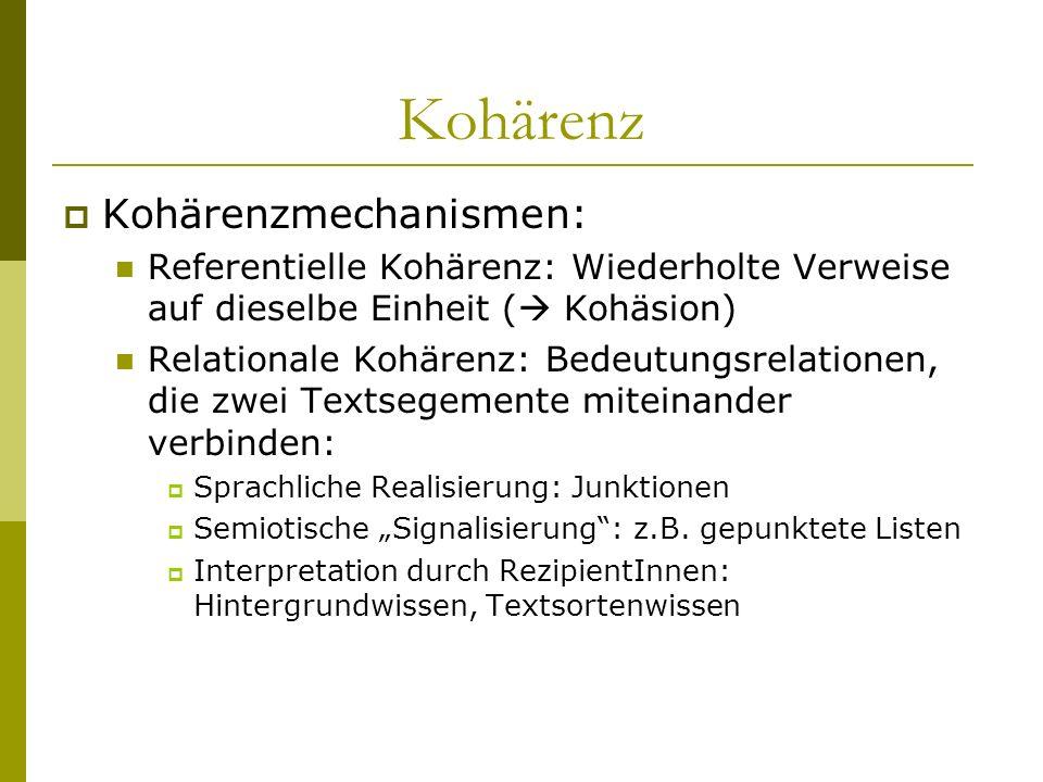Kohärenz Kohärenzmechanismen:
