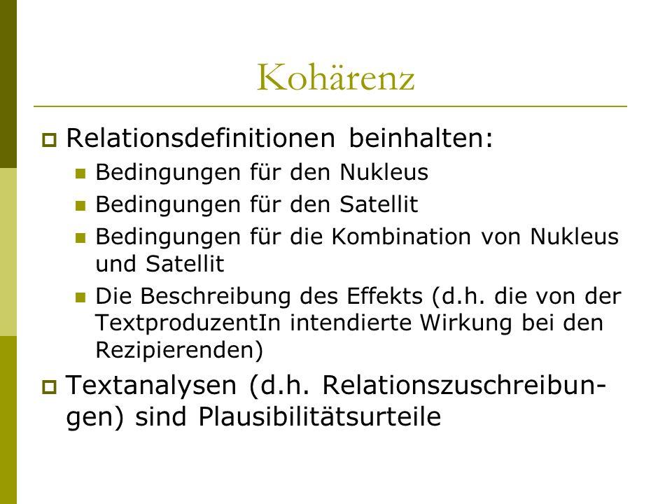 Kohärenz Relationsdefinitionen beinhalten:
