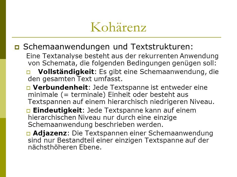 Kohärenz Schemaanwendungen und Textstrukturen: