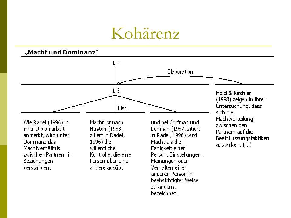 """Kohärenz """"Macht und Dominanz"""
