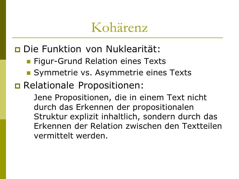 Kohärenz Die Funktion von Nuklearität: Relationale Propositionen: