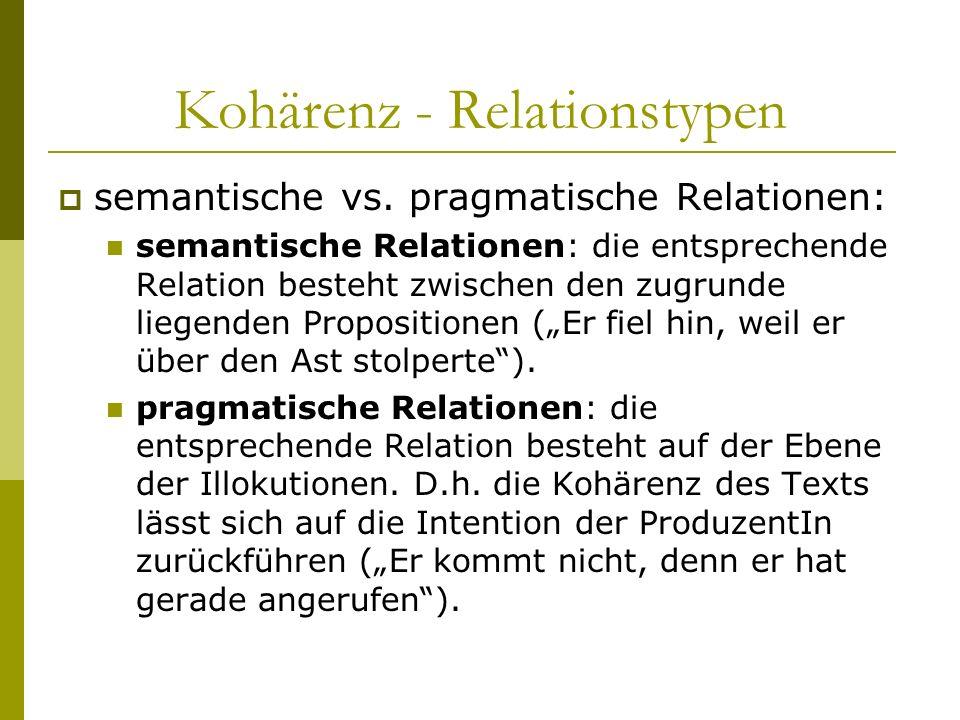 Kohärenz - Relationstypen
