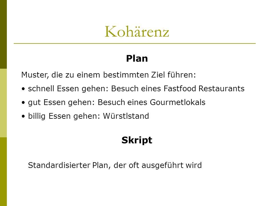 Kohärenz Plan Skript Muster, die zu einem bestimmten Ziel führen: