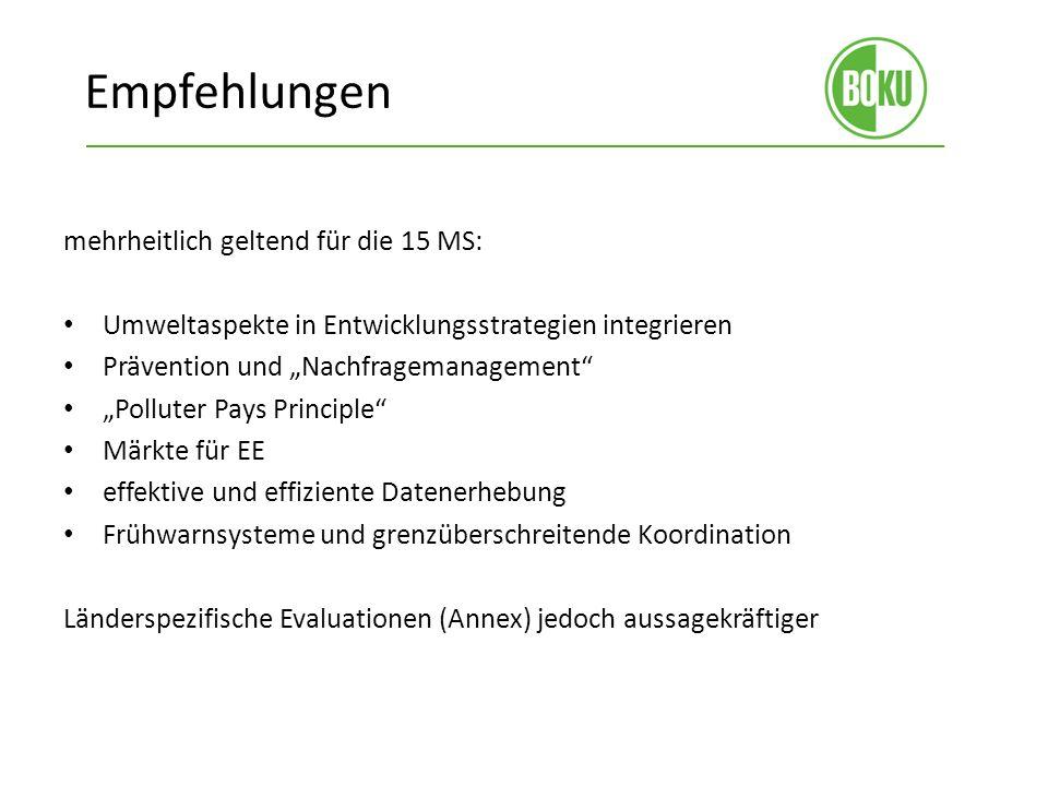 Empfehlungen mehrheitlich geltend für die 15 MS: