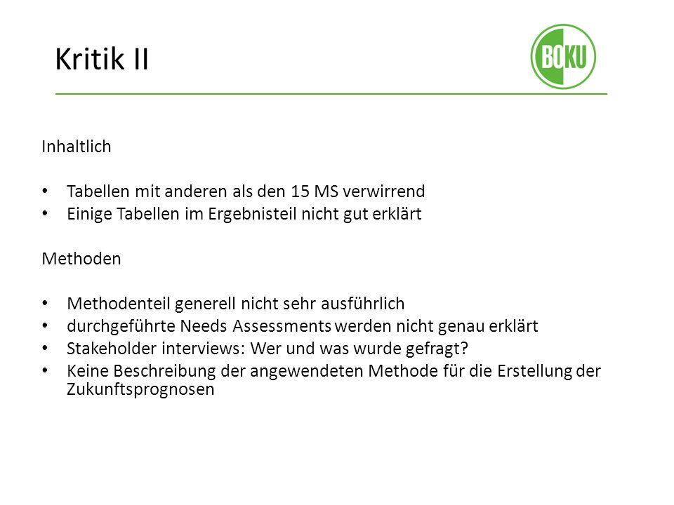 Kritik II Inhaltlich Tabellen mit anderen als den 15 MS verwirrend