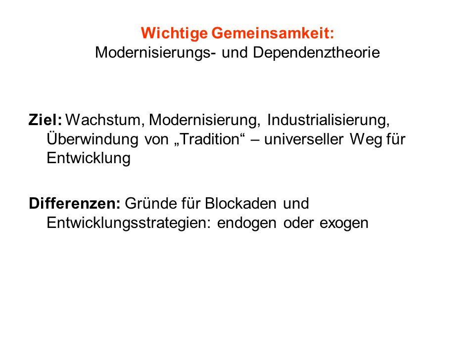 Wichtige Gemeinsamkeit: Modernisierungs- und Dependenztheorie
