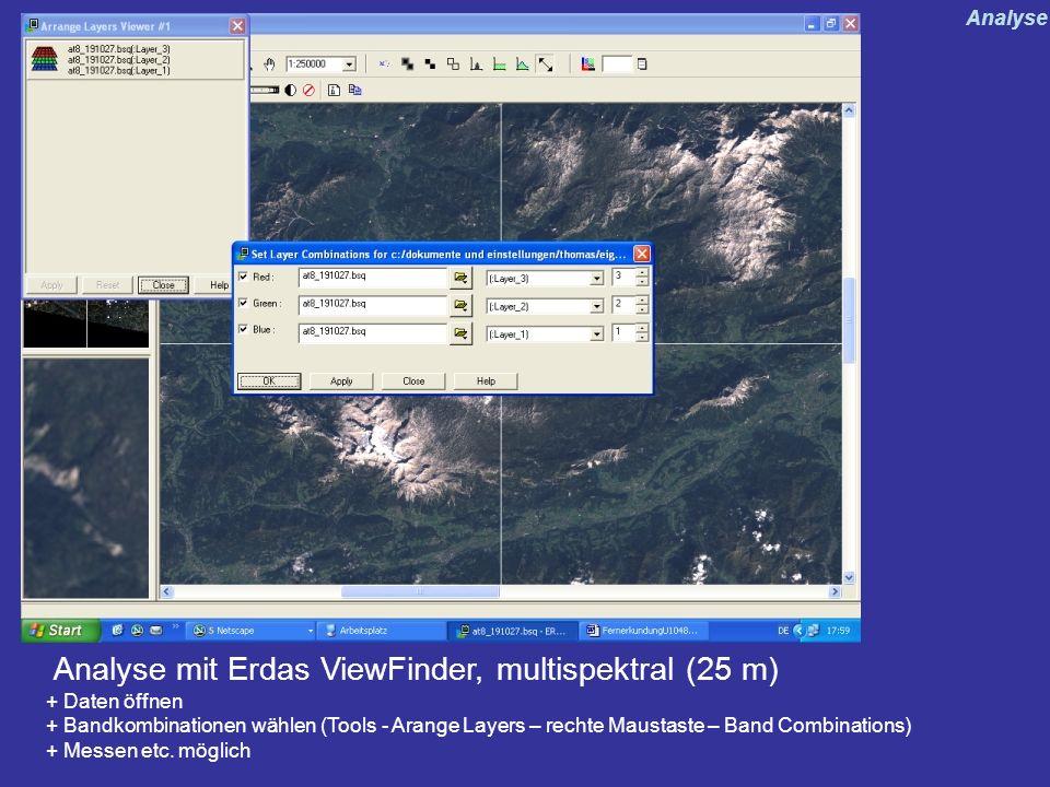 Analyse mit Erdas ViewFinder, multispektral (25 m)