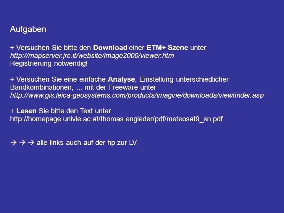 Aufgaben + Versuchen Sie bitte den Download einer ETM+ Szene unter