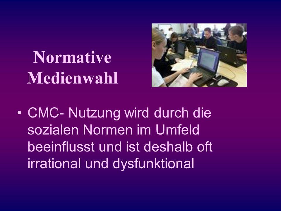 Normative Medienwahl CMC- Nutzung wird durch die sozialen Normen im Umfeld beeinflusst und ist deshalb oft irrational und dysfunktional.