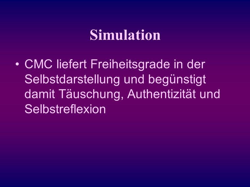 Simulation CMC liefert Freiheitsgrade in der Selbstdarstellung und begünstigt damit Täuschung, Authentizität und Selbstreflexion.
