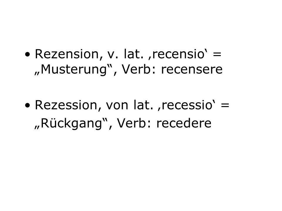 "Rezension, v. lat. 'recensio' = ""Musterung , Verb: recensere"