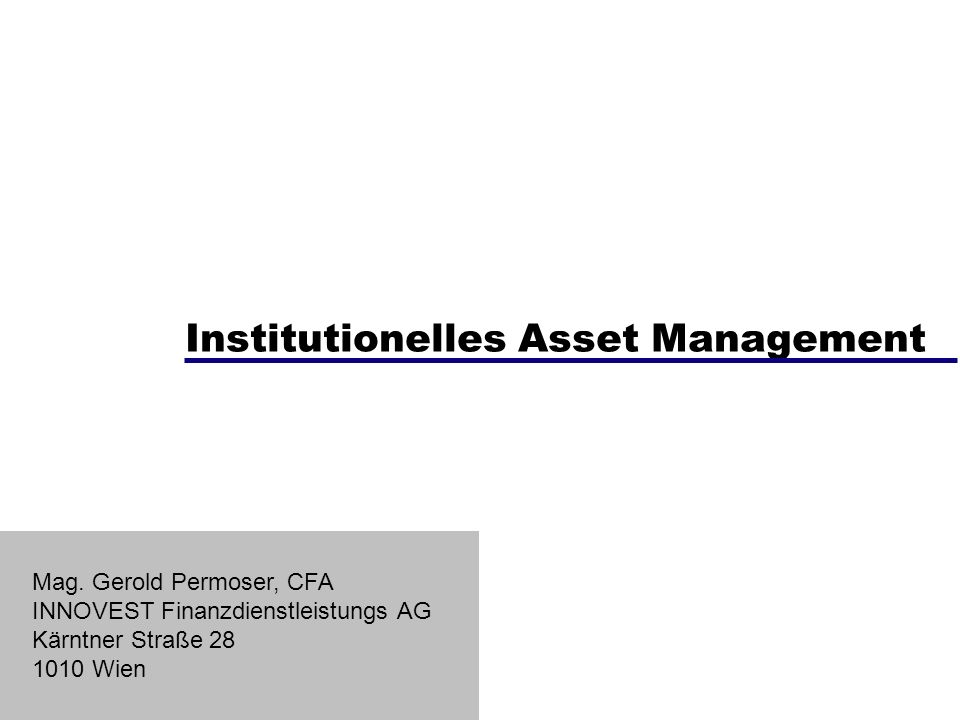 Institutionelles Asset Management