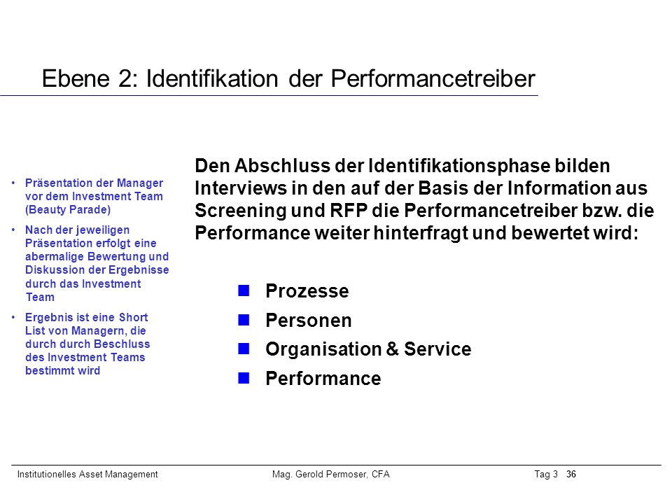 Ebene 2: Identifikation der Performancetreiber